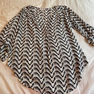 Lush Black and White Patterned Blouse